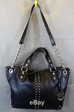 MICHAEL KORS Astor Uptown Black Leather Chain Strap Hobo Purse Large Tote Bag