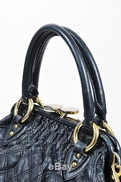 Marc Jacobs Black Gold Tone Leather Chain Strap Stam Bag