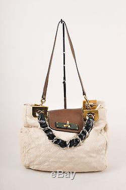 Marc Jacobs Cream/Black/Brown Cracked Quilted Leather Chain Strap Handbag