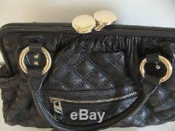 Marc Jacobs Jessica Stam Black Quilted Leather Handbag Chain Strap Excellent