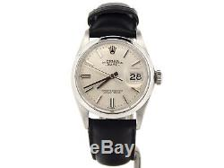 Mens Rolex Date Stainless Steel Watch Black Leather Strap Band Silver Dial 1500