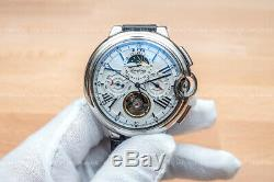 Mens Silver Automatic Mechanical Wrist Watch White Dial Black Leather Strap