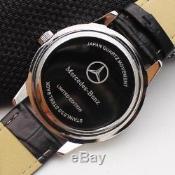Mercedes Benz Mens Stainless Steel Black Dial Brown Leather Strap Sport Watch