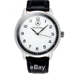 Mercedes Benz Mens Stainless Steel WHITE Dial Black Leather Strap Sport Watch