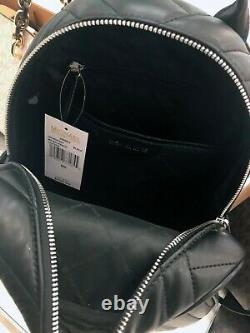 Michael Kors Abbey Medium Backpack Leather Quilted Black Gold