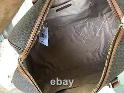 Michael Kors Extra Large PVC Leather Luggage Duffle Shoulder Crossbody Bag Brown