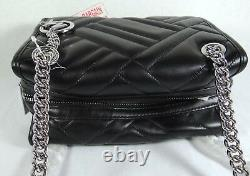 Michael Kors Kathy Quilted Lamb Leather Small Satchel Shoulder Bag in Black