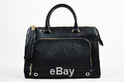 Milly Black Pebbled Leather Gold Tone Hardware Tote Bag With Shoulder Strap