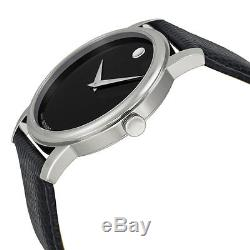 Movado 2100002 Gent's Museum Black Leather Strap Black Dial Watch