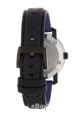 Movado Bold 36000482 Black Leather Strap Black Pink Dial Accents Women's Watch