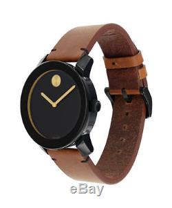 Movado Bold Black Museum Dial Rustic Brown Leather Strap Mens Watch 3600305