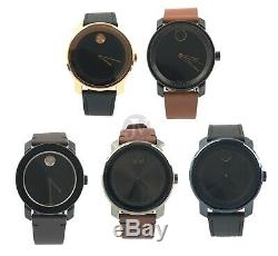 Movado Bold Mens Sunray Dial Leather Strap Watch