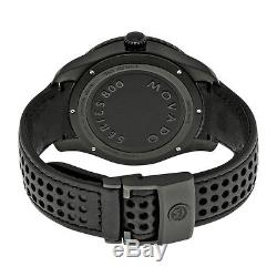 Movado Series 800 Gray Dial Black Leather Strap Mens Watch 2600118
