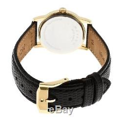 Movado Women's Black Dial Museum Swiss Leather Strap Gold Tone Watch 2100006
