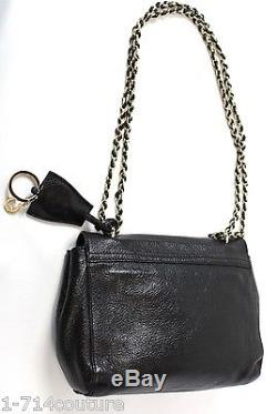 Mulberry Black Gloss Coat Lily Bag Leather Purse Chain Strap Postman Lock