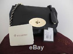 Mulberry Lily Shoulder Bag in Black Leather Gold Chain Straps with Gold Hardware