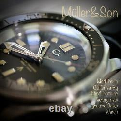 Müller&Son Watch No Time to Die MegaMod made from Seiko SNZF + Leather Strap