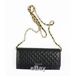 NEW $1190 PRADA Black LEATHER QUILTED WOC Messenger CHAIN STRAP BAG Wallet CARDS