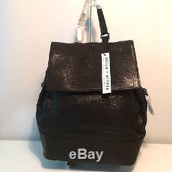 NEW Alice + Olivia Jagger Black Leather Backpack withPouch, Chain Straps, $595