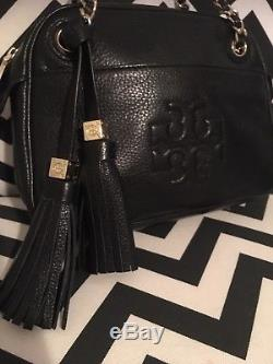 NEW Authentic Tory Burch Thea Chain Strap Black Pebbled black leather cross body