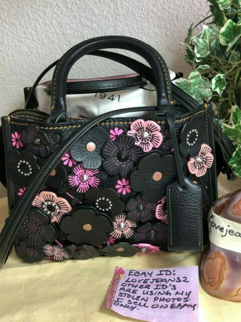 New! Coach Rogue 25 With Crystal Tea Rose Black Leather Cross Body Strap Pink