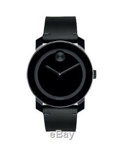 New Movado Bold Large Black Leather Strap Unisex Watch 3600306