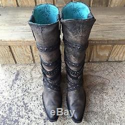 NIB CORRAL WOMEN'S BAD TO THE BONE DISTRESSED BLACK WESTERN BOOT WithSTRAPS C2971