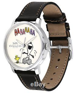 NIB Coach Women's Peanuts Snoopy laughing black Leather Strap Watch 40mm