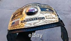 NWA DOMED GLOBE TITLE 4MM ZINC PLATES 24k GOLD PLATED & FLOPPY LEATHER STRAP