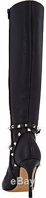 NWB $1995 VALENTINO ROCKSTUD LEATHER-STRAP KNEE-HIGH BOOTS Black Size 38/8 Italy