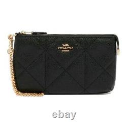 NWT COACH Large Wristlet Quilt Quilting Card Case Wallet Clutch Black Gold 91547
