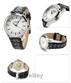 NWT Coach Women Watch Stainless BLACK Classic Logo Signature Strap 14501524 $195