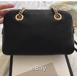 NWT! GUCCI Soho Leather Double-Chain-Strap Shoulder Bag, Black ORIG $1350+
