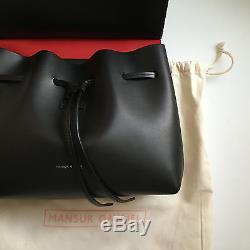 NWT Mansur Gavriel Mini Lady Bag Black/Red Italian Vegetable Leather with Strap
