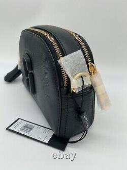 NWT Marc Jacobs Shutter Small Pebbled Leather Camera Crossbody Bag In Black