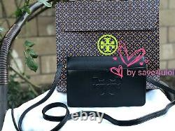 NWT TORY BURCH BOMBE T SMALL CROSSBODY / CLUTCH in Black Leather