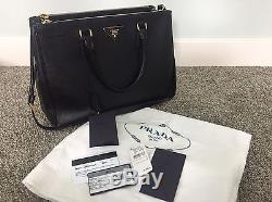 93f749d1df9f Neiman Marcus Prada Black Saffiano Leather Lux Large Double Zip Tote Bag  Withstrap