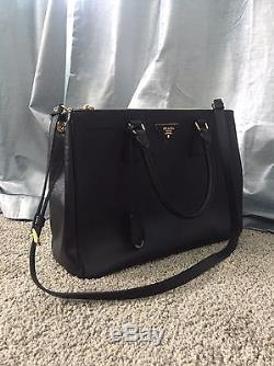 Neiman Marcus PRADA Black Saffiano Leather Lux Large Double Zip Tote Bag withStrap