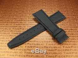 New 20mm IWC Black Leather Strap TOILE Fabric Watch Band PILOT Portuguese II