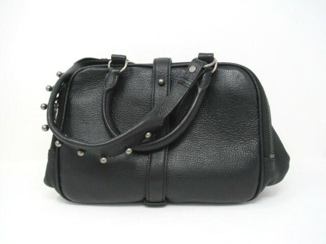 New! Alexander Wang Studded Strap Bowling Bag Purse In Black