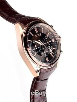 New Authentic Hugo Boss 1513093 Mens Rose Gold Drivers Sports Brown Strap Watch