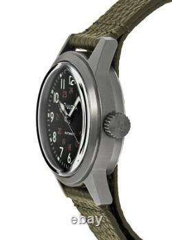 New Bulova Hack Automatic Black Dial Green Leather Strap Men's Watch 98A255