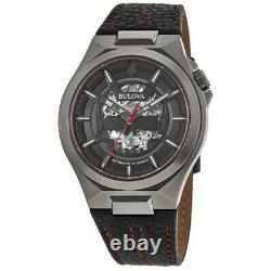 New Bulova Maquina Automatic Black Dial Black Leather Strap Men's Watch 98A237