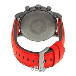 New Genuine Emporio Armani Ar1971 Mens Black Dial Red Leather Strap Watch