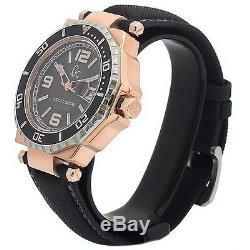 New Guess Collection Gc Watch 2 Tone Rose Gold & Ss Date Black Strap X79002g2s