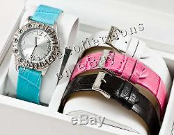 New Guess Ss Lady Watch White Pink Black Blue Leather Strap G96034l Gift Box Set