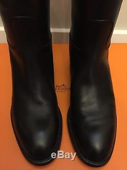 New Hermes Women Black Jumping Boots Calfskin Leather Kelly Strap Size 6/36