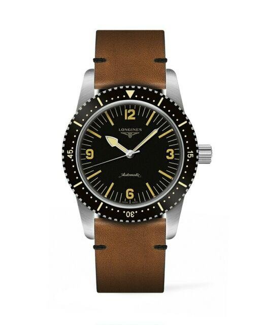 New Longines Automatic Skin Diver Leather Strap Men's Watch L28224562