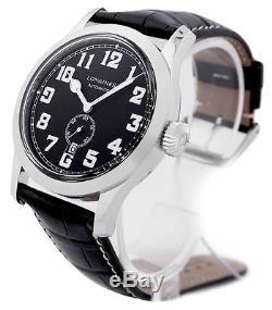 New Longines Heritage Military Black Dial Leather Strap Mens Watch L28114530