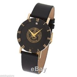 New Men's Stainless Steel Masonic Blue Lodge Watch with Black Leather Strap